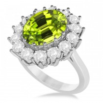 Oval Peridot & Diamond Accented Ring in 14k White Gold (5.40ctw)