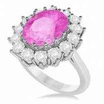 Oval Pink Sapphire & Diamond Accented Ring in 14k White Gold (5.40ctw)