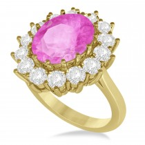 Oval Pink Sapphire & Diamond Accented Ring 14k Yellow Gold (5.40ctw)