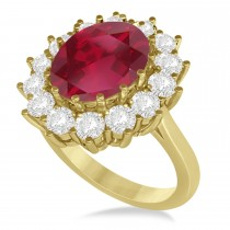 Oval Ruby and Diamond Ring 14k Yellow Gold (5.40ctw)