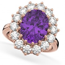 Oval Amethyst & Diamond Halo Lady Di Ring 14k Rose Gold (6.40ct)