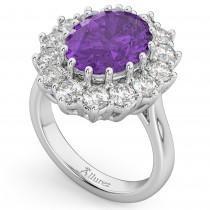 Oval Amethyst & Diamond Halo Lady Di Ring 14k White Gold (6.40ct)