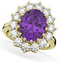 Oval Amethyst & Diamond Halo Lady Di Ring 14k Yellow Gold (6.40ct)