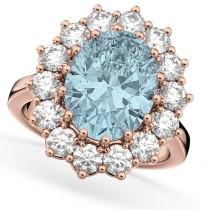 Oval Aquamarine & Diamond Halo Lady Di Ring 14k Rose Gold (6.40ct)