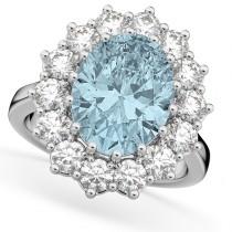 Oval Aquamarine & Diamond Halo Lady Di Ring 14k White Gold (6.40ct)