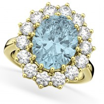 Oval Aquamarine & Diamond Halo Lady Di Ring 14k Yellow Gold (6.40ct)