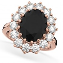 Oval Black Diamond & Diamond Halo Lady Di Ring 14k Rose Gold (6.40ct)