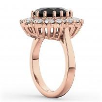 Oval Black Diamond & Diamond Halo Lady Di Ring 14k Rose Gold (6.40ct)