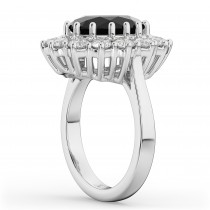 Oval Black Diamond & Diamond Halo Lady Di Ring 14k White Gold (6.40ct)