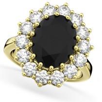 Oval Black Diamond & Diamond Halo Lady Di Ring 14k Yellow Gold (6.40ct)