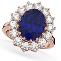 Oval Blue Sapphire & Diamond Halo Lady Di Ring 14k Rose Gold (6.40ct)