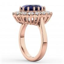 Oval Blue Sapphire & Diamond Halo Lady Di Ring 14k Rose Gold (6.40ct)