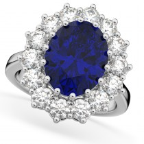 Oval Blue Sapphire & Diamond Halo Lady Di Ring 14k White Gold (6.40ct)