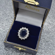 Oval Blue Sapphire & Diamond Halo Lady Di Ring 14k White Gold (6.40ct)