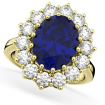 Oval Blue Sapphire & Diamond Halo Lady Di Ring 14k Yellow Gold (6.40ct)