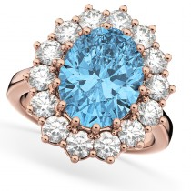 Oval Blue Topaz & Diamond Halo Lady Di Ring 14k Rose Gold (6.40ct)