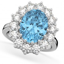 Oval Blue Topaz & Diamond Halo Lady Di Ring 14k White Gold (6.40ct)
