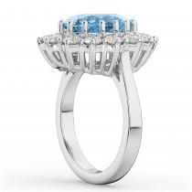 Oval Blue Topaz & Diamond Halo Lady Di Ring 14k White Gold (6.40ct)