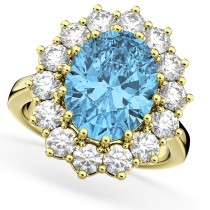 Oval Blue Topaz & Diamond Halo Lady Di Ring 14k Yellow Gold (6.40ct)