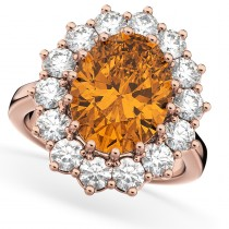 Oval Citrine & Diamond Halo Lady Di Ring 14k Rose Gold (6.40ct)