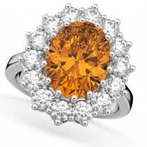 Oval Citrine & Diamond Halo Lady Di Ring 14k White Gold (6.40ct)