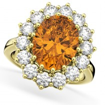 Oval Citrine & Diamond Halo Lady Di Ring 14k Yellow Gold (6.40ct)