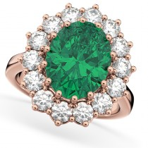 Oval Emerald & Diamond Halo Lady Di Ring 14k Rose Gold (6.40ct)