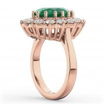 Oval Emerald & Diamond Halo Lady Di Ring 14k Rose Gold (6.40ct)