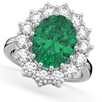 Oval Emerald & Diamond Halo Lady Di Ring 14k White Gold (6.40ct)
