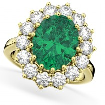Oval Emerald & Diamond Halo Lady Di Ring 14k Yellow Gold (6.40ct)