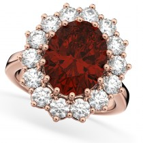 Oval Garnet & Diamond Halo Lady Di Ring 14k Rose Gold (6.40ct)