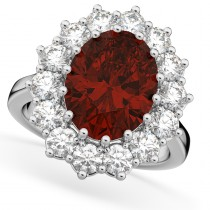 Oval Garnet & Diamond Halo Lady Di Ring 14k White Gold (6.40ct)