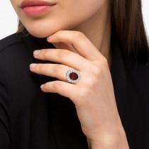 Oval Garnet & Diamond Halo Lady Di Ring 14k White Gold (6.40ct)