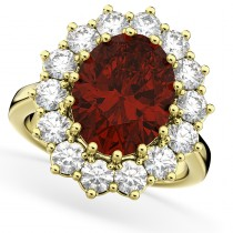 Oval Garnet & Diamond Halo Lady Di Ring 14k Yellow Gold (6.40ct)