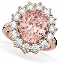 Oval Morganite & Diamond Halo Lady Di Ring 14k Rose Gold (6.40ct)