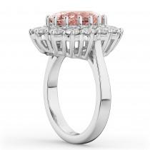 Oval Morganite & Diamond Halo Lady Di Ring 14k White Gold (6.40ct)