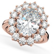 Oval Moissanite & Diamond Halo Lady Di Ring 14k Rose Gold (6.40ct)