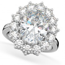Oval Moissanite & Diamond Halo Lady Di Ring 14k White Gold (6.40ct)