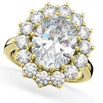 Oval Moissanite & Diamond Halo Lady Di Ring 14k Yellow Gold (6.40ct)