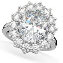 Oval Moissanite & Diamond Halo Lady Di Ring 18k White Gold (6.40ct)