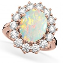 Oval Opal & Diamond Halo Lady Di Ring 14k Rose Gold (6.40ct)