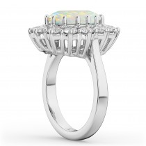 Oval Opal & Diamond Halo Lady Di Ring 14k White Gold (6.40ct)