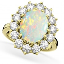 Oval Opal & Diamond Halo Lady Di Ring 14k Yellow Gold (6.40ct)