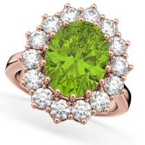 Oval Peridot & Diamond Halo Lady Di Ring 14k Rose Gold (6.40ct)
