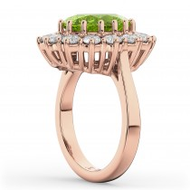 Oval Peridot & Diamond Halo Lady Di Ring 14k Rose Gold (6.40ct)