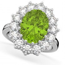 Oval Peridot & Diamond Halo Lady Di Ring 14k White Gold (6.40ct)
