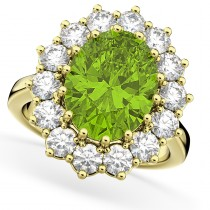 Oval Peridot & Diamond Halo Lady Di Ring 14k Yellow Gold (6.40ct)