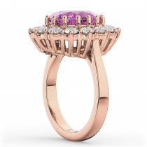 Oval Pink Sapphire & Diamond Halo Lady Di Ring 14k Rose Gold (6.40ct)