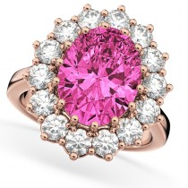 Oval Pink Tourmaline & Diamond Halo Lady Di Ring 14k Rose Gold (6.40ct)