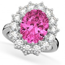 Oval Pink Tourmaline & Diamond Halo Lady Di Ring 14k White Gold (6.40ct)